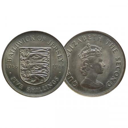 """1966 * 5 Shillings Jersey """"Isabel II - Batalla de Hastings"""" (KM 28) EBC"""