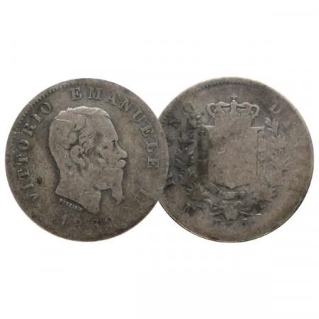 "1862 N * 1 Lira Plata Italia Reino ""Víctor Manuel II - Napoli"" (KM 5) BR"