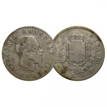 """1863 M BN * 1 Lira Plata Italia Reino """"Víctor Manuel II - Stemma"""" (KM 5a.1) BR"""