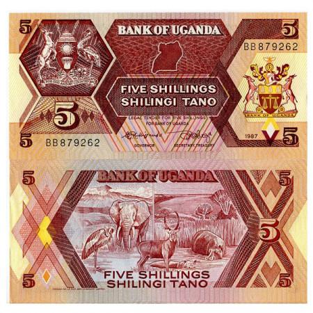 """1987 * Billete Uganda 5 Shillings """"Wildlife"""" (p27) SC"""