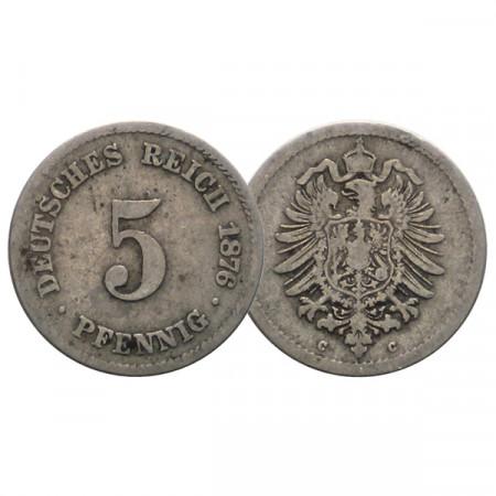 """1876 C * 5 Pfennig ALEMANIA """"Segundo Reich - Águila Imperial"""" (KM 3) MBC"""