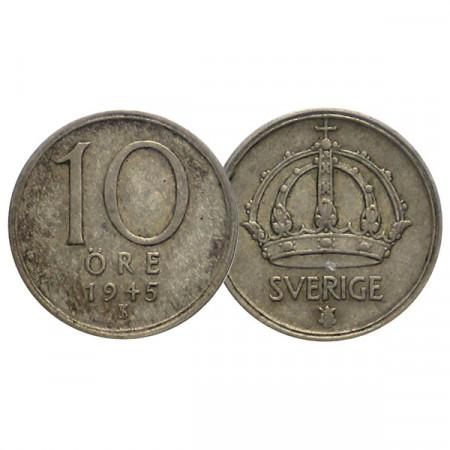 """1945 TS * 10 Ore Suecia """"Gustavo V - Crown"""" (KM 813) MBC"""