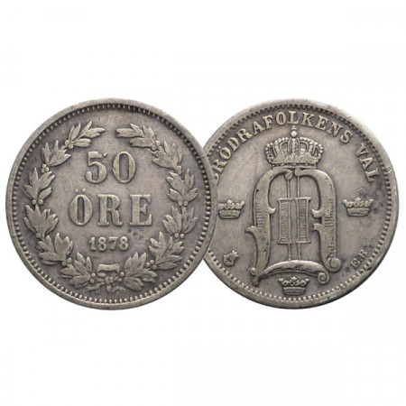 "1878 EB * 50 Ore Suecia ""Oscar II - King's Monogram"" (KM 740) MBC"