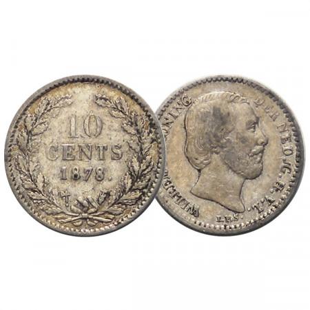 "1878 * 10 Cents Plata Holanda - Países Bajos ""Guillermo III"" (KM 80) MBC"
