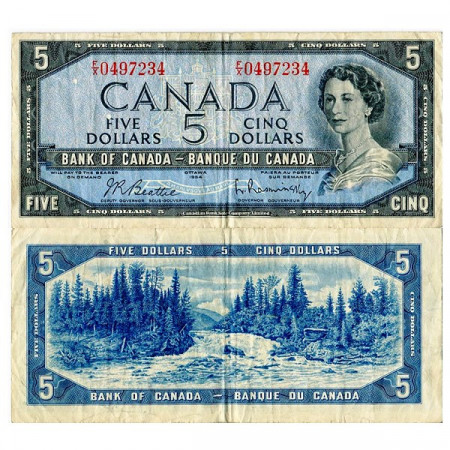 "1954 (1961-72) * Billete Canadá 5 Dollars ""Isabel II"" (p77b) MBC"