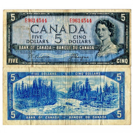 "1954 * Billete Canadá 5 Dollars ""Isabel II – Devil's Face Hairdo"" (p68b) BC"