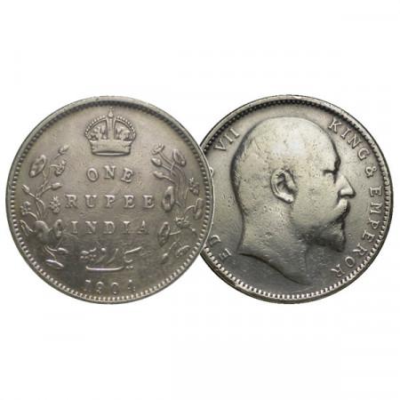 "1904 B * 1 Rupee Plata India Británica ""Eduardo VII"" (KM 508) MBC"