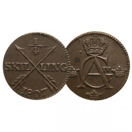 "1807 * 1/4 Skilling Suecia ""Gustavo IV Adolfo - Monogram"" (KM 564) MBC+"