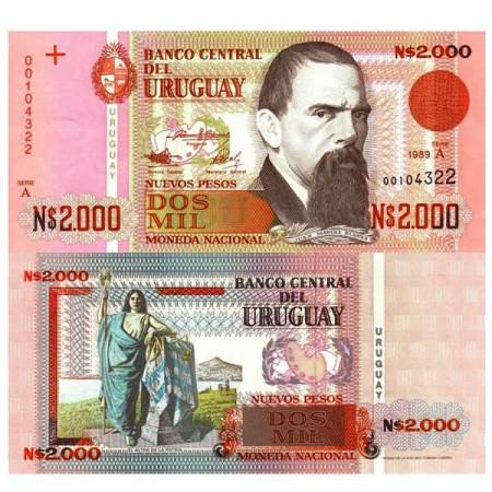 """1989 * Billet Uruguay 2000 Nuevos Pesos """"Juan Manuel Blanes"""" (p68a) SC"""