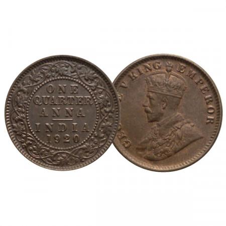 "1920 (c) * 1/4 Anna India Británica ""Jorge V"" (KM 512) EBC+"