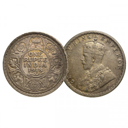 "1918 (b) * 1 Rupee Plata India Británica ""Jorge V"" (KM 524) MBC+"