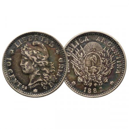"""1882 * 10 Centavos Plata Argentina """"Libertad"""" (KM 26) MBC"""