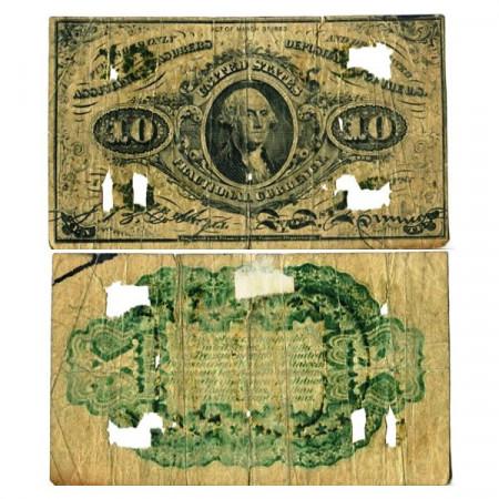 """1863 * Billete Estados Unidos de América 10 Cents """"George Washington"""" (p108) BR"""