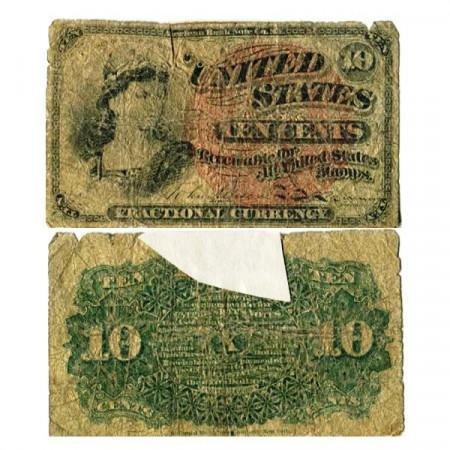 """1863 * Billete Estados Unidos de América 10 Cents """"Liberty"""" (p115d) BR"""