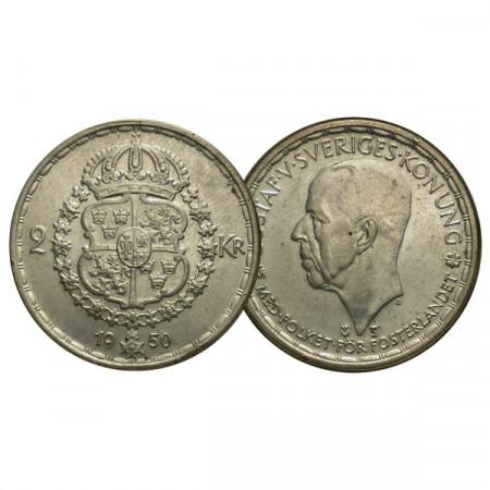 """1950 TS * 2 Kronor Plata Suecia """"Gustavo V - Escudo"""" (KM 815) EBC+"""