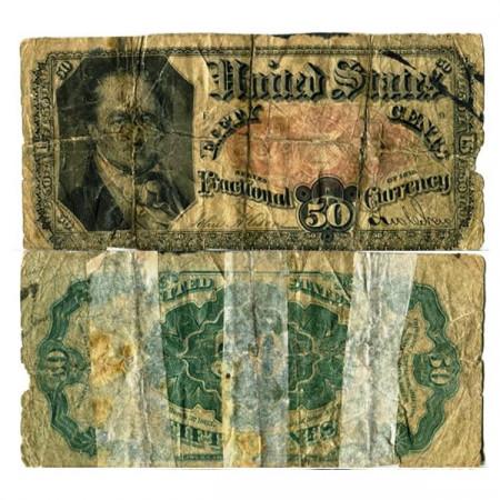 """1863 * Billete Estados Unidos de América 50 Cents """"William Harris Crawford"""" (p124) BR"""