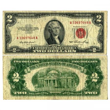 """1953 * Billete Estados Unidos de América 2 Dollars """"Jefferson - Red Seal"""" (p380) BC+"""