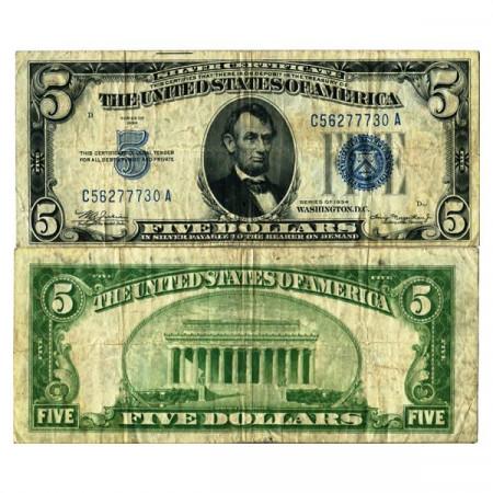 """1934 * Billete Estados Unidos de América 5 Dollars """"Lincoln - Silver Certificate"""" (p414A) BC+"""
