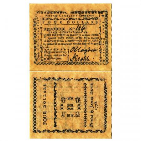 """1778 * Billete Estados Unidos 4 Dollars """"State of North Carolina - REPLICA"""" (pS2251) SC"""