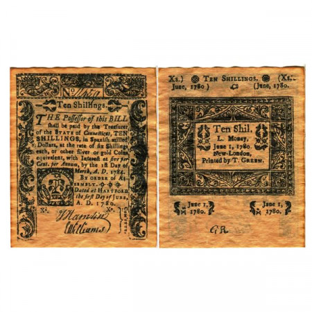 "1780 * Billete Estados Unidos 10 Shillings ""State of Connecticut - REPLICA"" (pS550) SC"