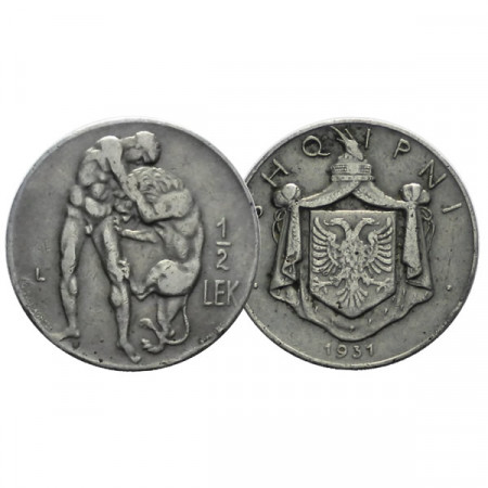 "1931 L * 1/2 Lek Albania ""Hércules y León de Nemea"" (KM 13) BC"