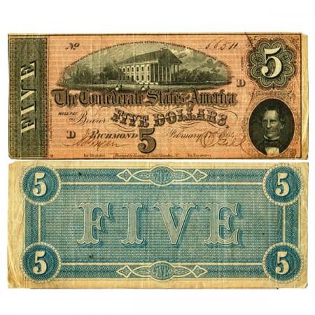 """1864 * Billete Estados Confederados de América 5 Dollars """"Richmond"""" (p67) MBC+"""
