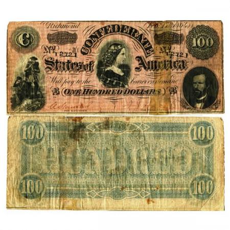 """1864 * Billete Estados Confederados de América 100 Dollars """"Richmond"""" (p71) BR"""