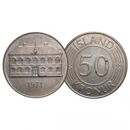 """1971 * 50 Kronur Islandia """"Icelandic Parliament"""" (KM 19) EBC"""