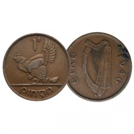"1946 * 1 Pingin (Penny) Irlanda ""Hen with Chicks"" (KM 11) MBC"