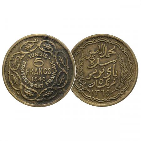 """1365 (1946) * 5 Francs Túnez """"Protectorado Francés"""" (KM 273) MBC"""
