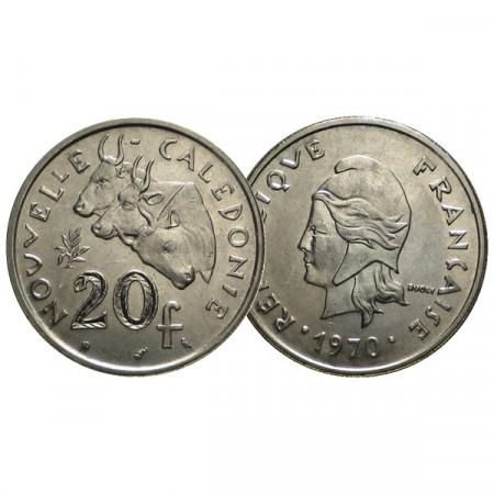 """1970 * 20 Francs Nueva Caledonia """"Liberty Head"""" (KM 6) EBC"""
