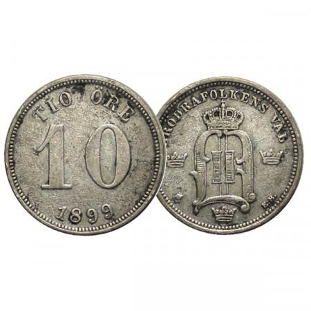 "1899 EB * 10 Ore Suecia ""Oscar II - King's Monogram"" (KM 755) MBC+"