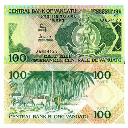 """ND (1982) * Billete Vanuatu 100 Vatu """"Melanesian Chief"""" (p1a) SC"""