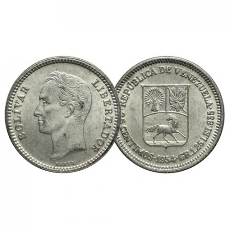 "1954 (p) * Gram 1,25 (25 Cents) Plata Venezuela ""Simón Bolívar"" (Y 35) SC"