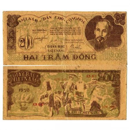 """1950 * Billete Vietnam del Norte 200 Dong """"Ho Chi Minh"""" (p34a) MBC+"""