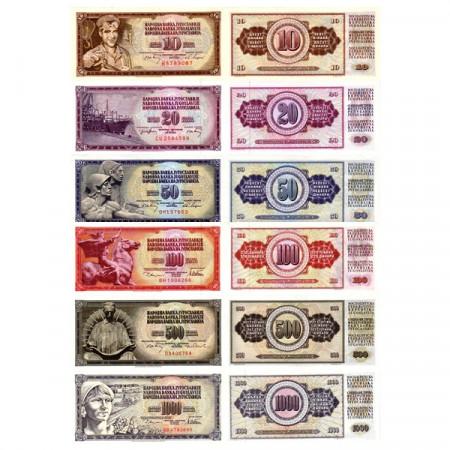 Mix * Set 6 Billetes Yugoslavia 10-1000 Dinara (p82->92) SC