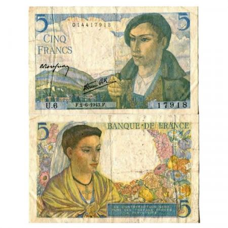 """1943 * Billete Francia 5 Francs """"Berger"""" (p98a) MBC+"""