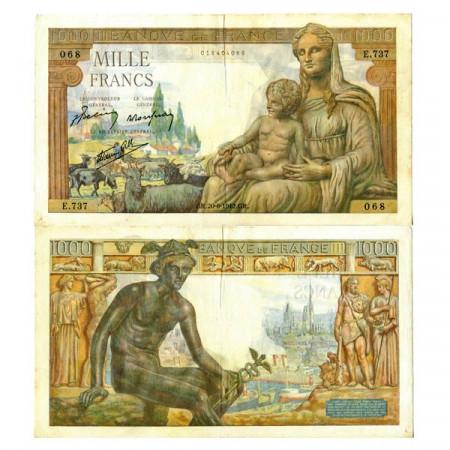 """1942 * Billete Francia 1000 Francs """"Déesse Déméter"""" (p102) MBC+"""