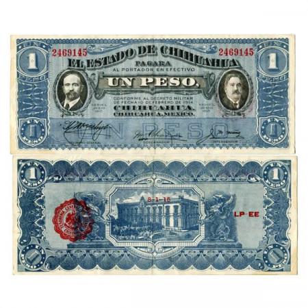 """1915 L * Billete México - Revolución Mexicana 1 Peso """"Estado de Chihuahua"""" (pS530e) EBC"""