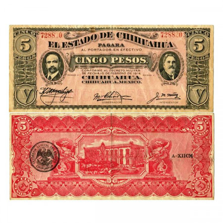 "1914 C * Billete México - Revolución Mexicana 5 Pesos ""Estado de Chihuahua"" (pS531f) MBC+"