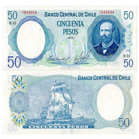 """1981 * Billete Chile 50 Pesos """"Arturo Prat"""" (p151b) EBC"""