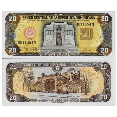 "1998 * Billete República Dominicana 20 Pesos Oro ""Altar of Fatherland"" (p154b) SC"