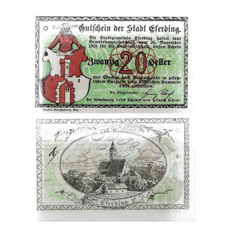 "1919 * Notgeld Austria 20 Heller ""Alta Austria - Eferding - Green"" (M152) SC"