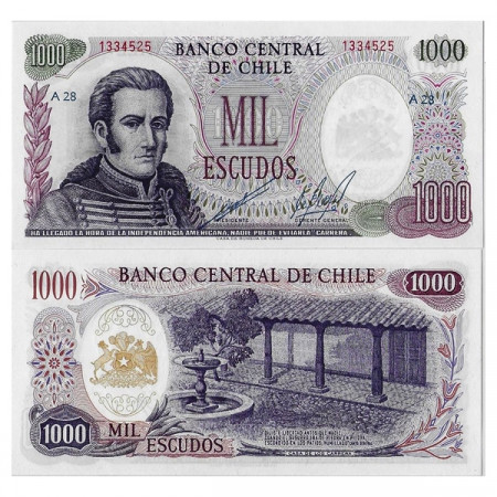 """ND (1967-76) * Billete Chile 1000 Escudos """"José M Carrera"""" (p146) SC"""
