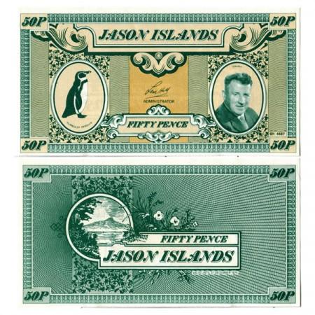 """1979 * Billete Islas Jason 50 Pence """"Len Hill"""" (px) SC"""