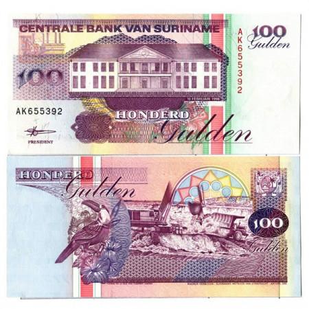 """1998 * Billete Surinam 100 Gulden """"Central Bank - Paramaribo"""" (p139b) SC"""