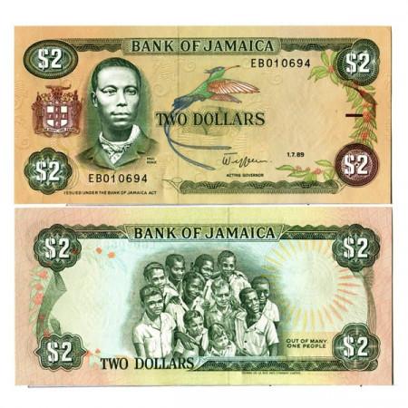 """1989 * Billete Jamaica 2 Dollars """"Paul Bogle"""" (p69c) SC"""