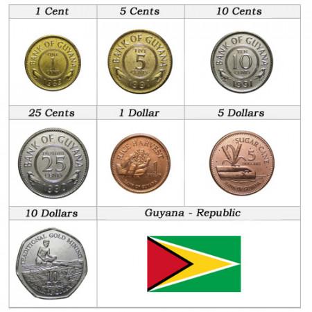 "Años Mixto * Serie 7 Monedas Guyana ""Dollars"" UNC"