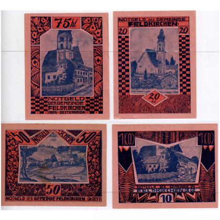 """1920 * Lote 4 Notgeld Austria 10 . 20 . 50 . 75 Heller """"Carintia - Feldkirchen - Handstamp"""" (FS 196IId)"""