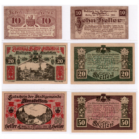 "1920 * Lote 3 Notgeld Austria 10 . 50 Heller ""Baja Austria – Amstetten"" (FS 37Ib)"